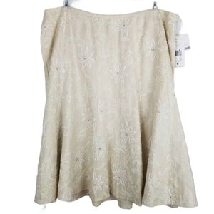 Lafayette 148 Linen Embroidered Skirt Size 20 NWT